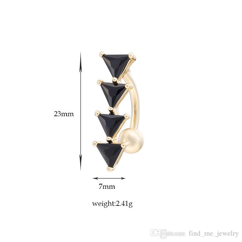 Wholesale Sexy Punk Black Crystal Belly Bars Belly Button Rings Belly Piercing Zircon Party Body Jewelry Navel Piercing Rings