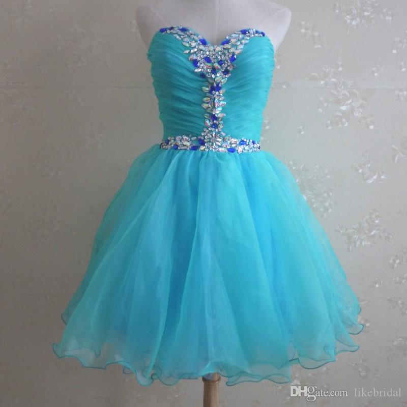Pretty Girls Short Prom Dreses with Crystals 2017 Vestidos de Curto Turquoise Prom Gowns Organza Mini Skirt Lace up Back Party Dresses