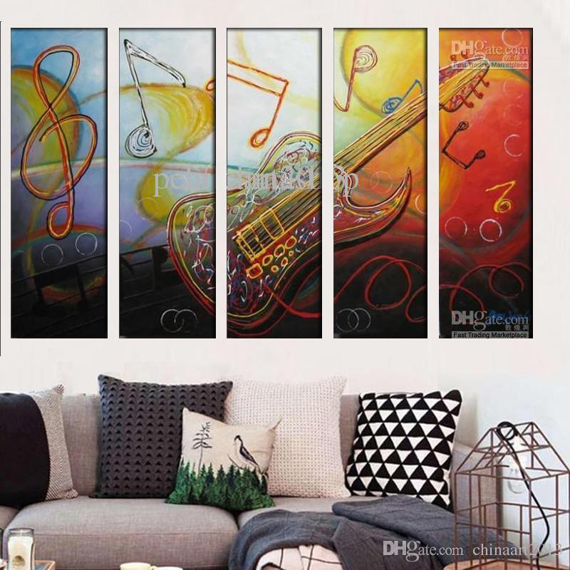 100% da tração da mão pintura a óleo abstrata moderna sobre tela Crazy Guitar