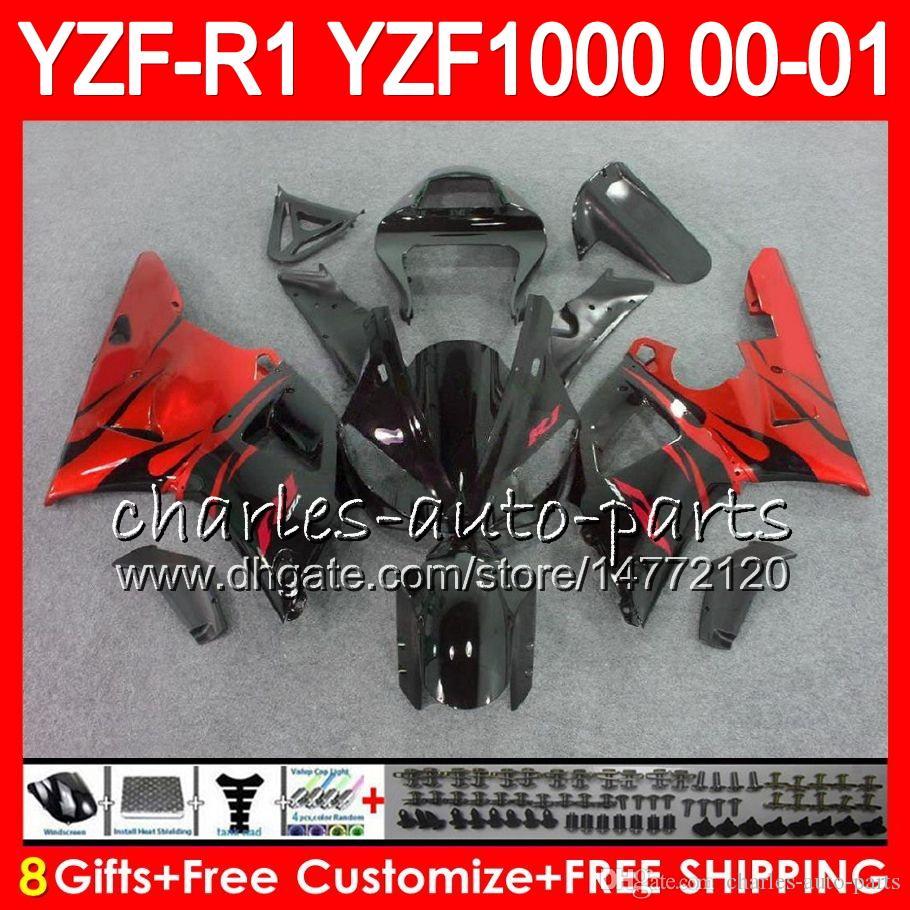 Carrosserie Pour YAMAHA YZF1000 YZFR1 00 01 98 99 YZF-R1000 Corps 74HM4 TOP Flammes rouges YZF 1000 R 1 YZF-R1 YZF R1 2000 2001 1998 1999 Kit de carénage