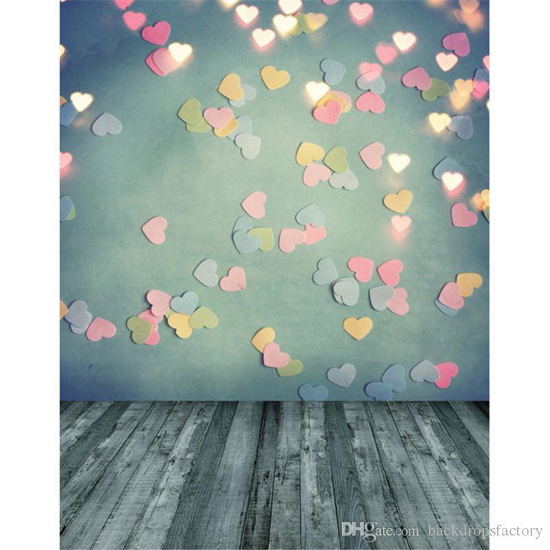 Acquista Fotografia Sfondo Verde Muro Glitter Cuori Rosa Luci Doro