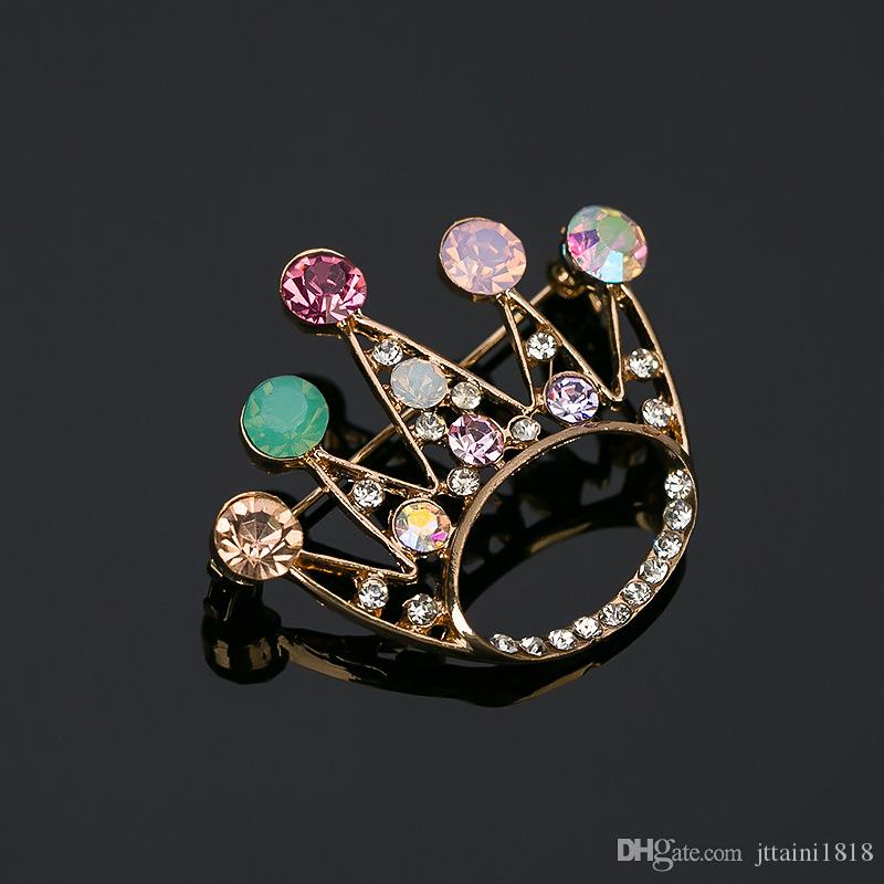 Crown Crystal Brooch Luxurious Flowers Broches For Woman Collar Pins Buckle Broche Relogio Femininos Wedding Dress #BR004