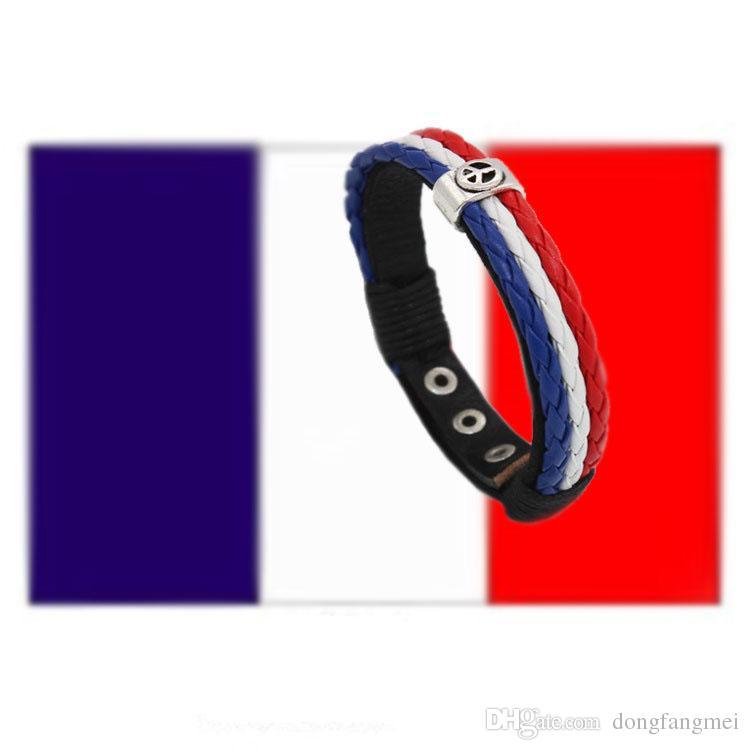 Good A++ Explosive handmade braided leather bracelet color flags banners fashion retro FB123 a Charm Bracelets