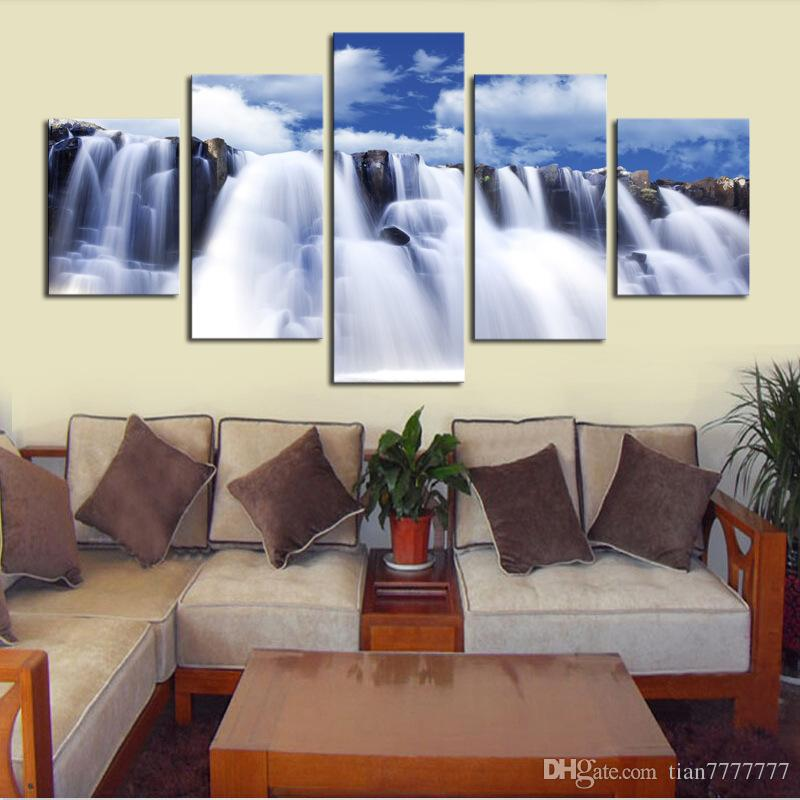 Unframed Wall Art Canvas Paintings Strong Waterfall Natural Scenery Painting For Living room Home decor Print Poster