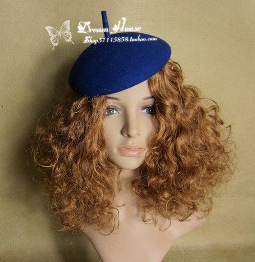 Woman headdress hair Continental retro jewelry Ladies Hat Sen female Hepburn Christmas Wool Beret headdress hairpin round painter