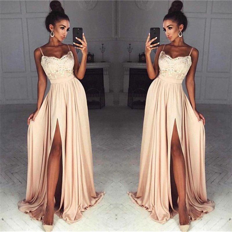 Stunning Champagne Lace Chiffon Prom Dresses Sexy Front