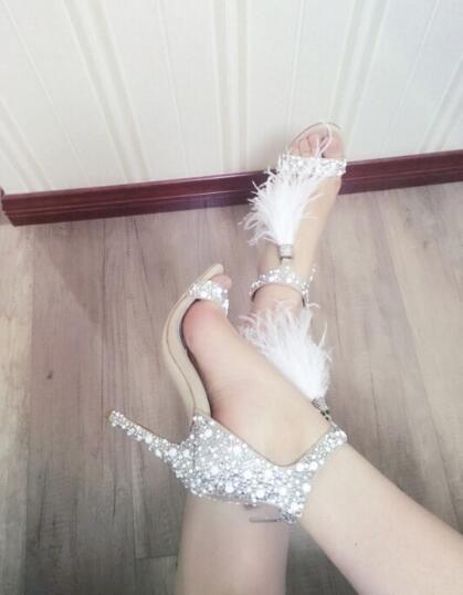 Vendita calda Siliver Paillettes Diamond Bling Bianco Tassel Cover sottile tacco alto donna Lady Girls scarpe da sposa Sandali estivi