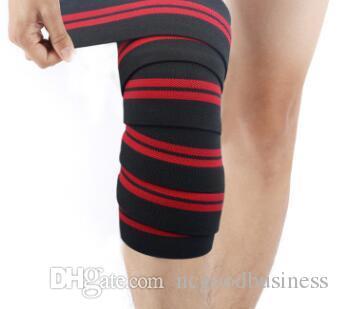 alrededor de 2.0 m * 8 cm Levantamiento de pesas Vendas elásticas de rodilla Pierna Compresión Apoyo de la pantorrilla Wraps Deportes Squats entrenamiento correa