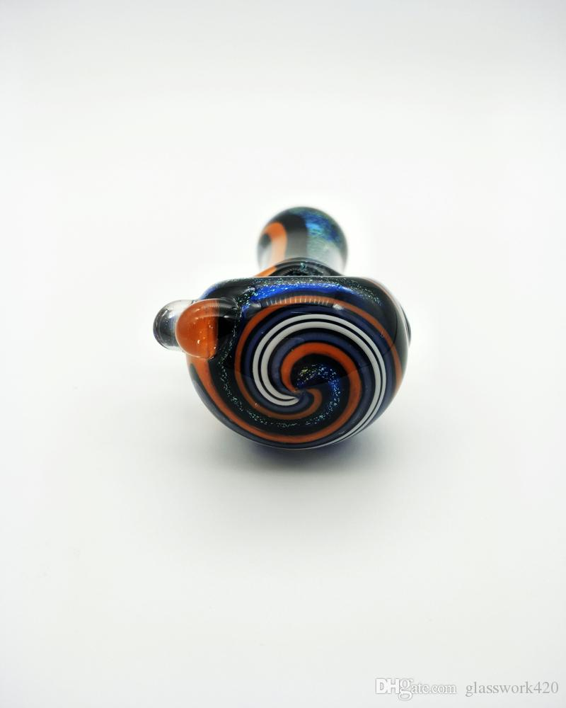 USA STOCK AVAILABLE! Factory Direct Seller Dichroic Style with Pure Hand Drawing Fancy Lines Glass Smoking Pipe 4Inch 65g/pc SP-023