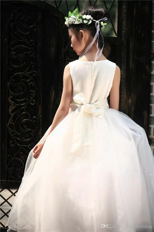 Красота белый кот дети свадебные платья с поясом пухлые малышей дети платье для выпускного вечера Рождество свадьбы цветок девушка платье