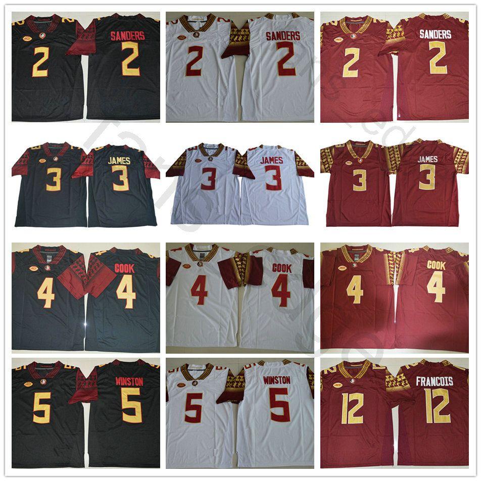 purchase cheap 2fd50 24627 Florida State Seminole 3 Derwin James 12 Deondre Francois 4 Dalvin Cook  Jameis Winston Deion Sanders Red Black White College Football Jersey