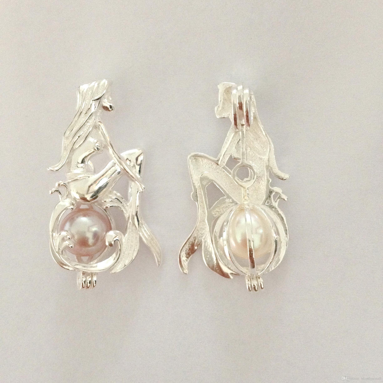Médaillon de pendentif perle en argent 925 / peut ouvrir la cage de sirène fille
