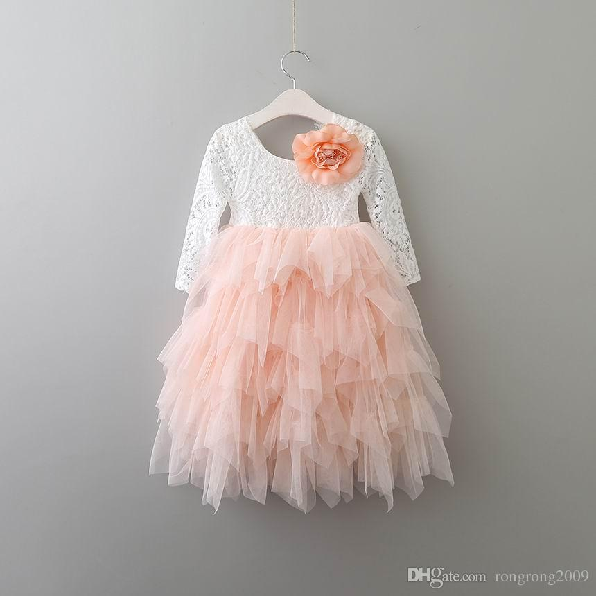 Détail Nouvelles Filles Dentelle Robe De Fleur À Niveaux Tulle Maxi Robe À Manches Longues Princesse Pour La Fête De Mariage Enfants Vêtements 1-10A E17104