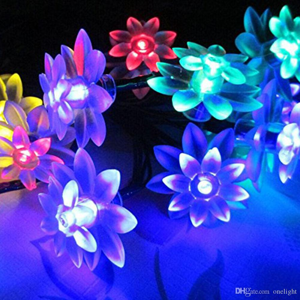 20 Led Solar Double Lotus Flower Light String Solar Fairy String