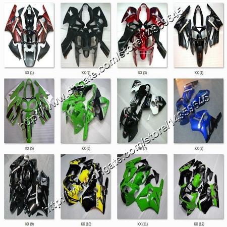 8Hediyeler + Tankı kapağı yeşil siyah ABS kaput ZX12R 2002 Kawasaki Ninja 2002 2004 için karoser motosiklet kaporta