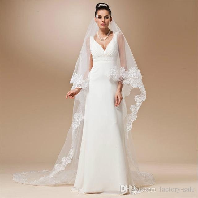 Cheap Price Wedding Accessories Veu De Noiva White/Ivory Cheap Wedding Veil Lace Bridal Veil 3 Meters In Stock CPA091