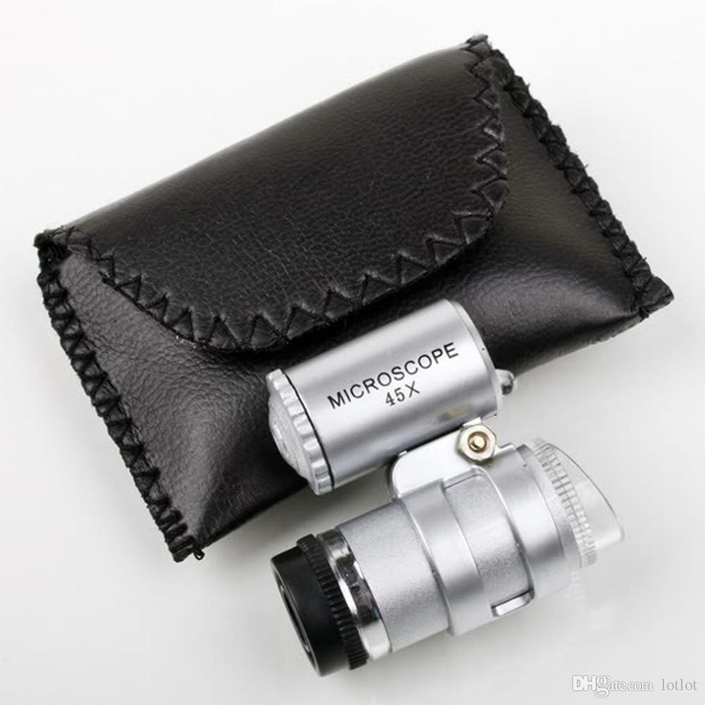 Adjustable portable 45x mini microscope with 2 LED Mini magnifier Microscope with banknote checking function