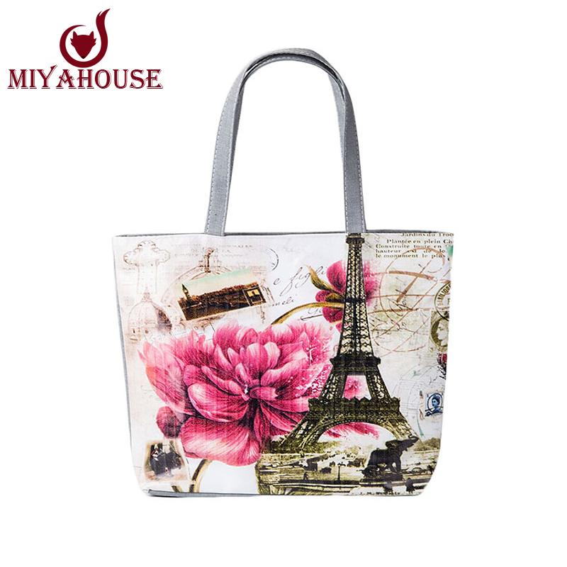 Wholesale Hot Selling Women Canvas Tote Bag Fashion Female Beach Bag Large  Capacity Shoulder Shopping Handbag Casual Floral Printed Tote Messenger Bags  ... 7bb8d190d0