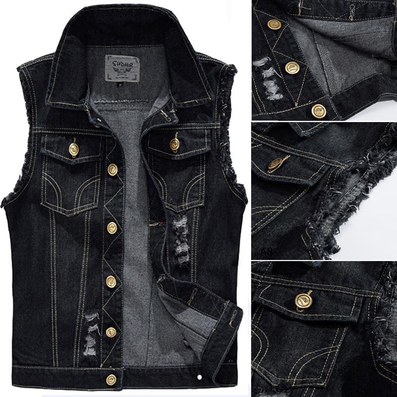 2019 Wholesale Big Size Male Ripped Vintage Black Sleeveless Jean