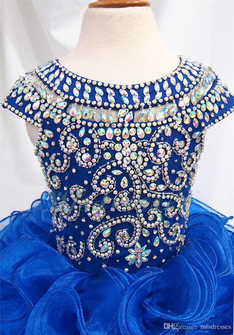 2017 Nueva Royal Blue Organza Corto Niñas Vestidos Del Desfile Rebordear Vestido de Niña de las Flores Niños Prom Vestidos de Noche Niñas Vestido de Fiesta Formal