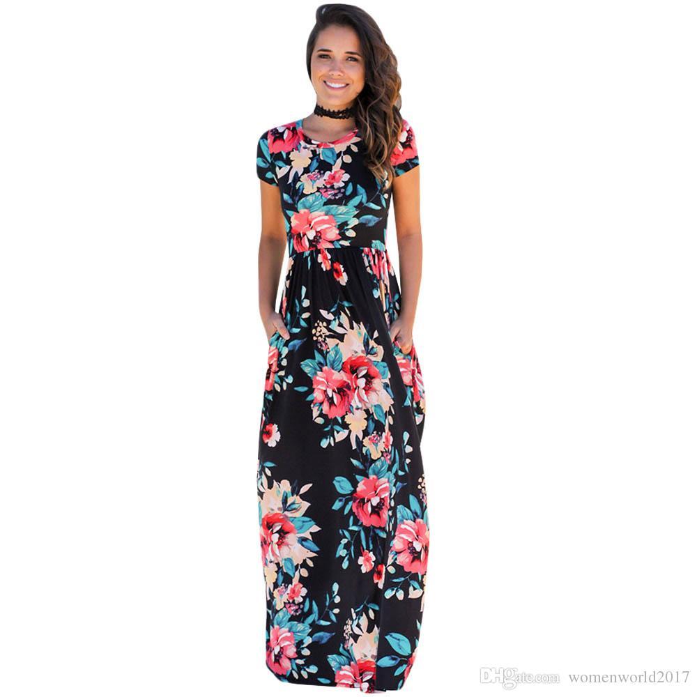 53102d88d6f 2017 Boho Style Floral Print Maxi Dress Women O Neck Short Sleeve Summer  Beach Long Dress Casual Elegant Party Dresses Vestidos Teenage Party Dresses  ...