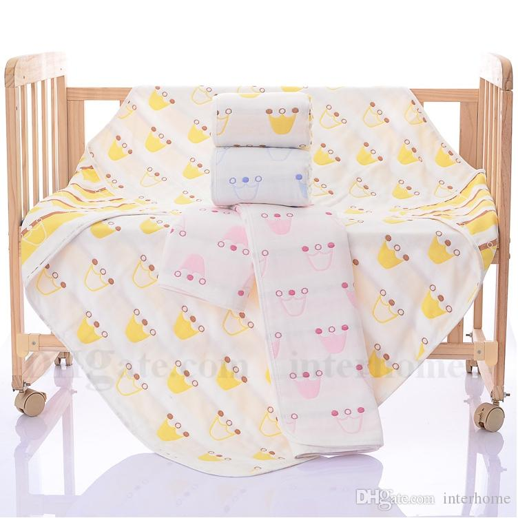 Baby Swaddle Blankets INS Soft Bathing Towels Toddler Cartoon Wrap Kids Cotton Swaddling Children Bedding Sheet Shower Towel Six Layers H647