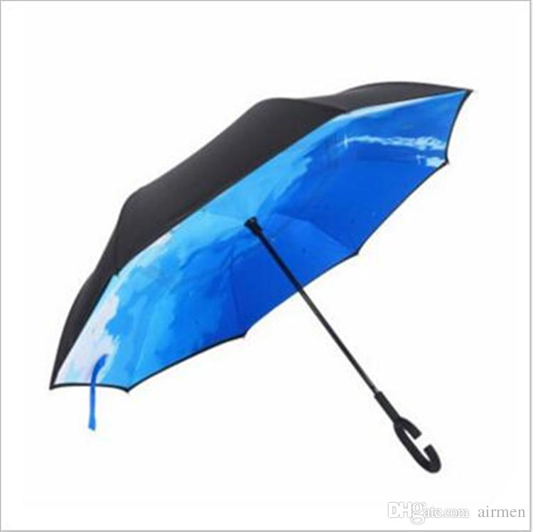 High Quality Windproof Reverse Folding Double Layer Inverted Chuva Umbrella Self Stand Inside Out Rain Protection C-Hook Hands