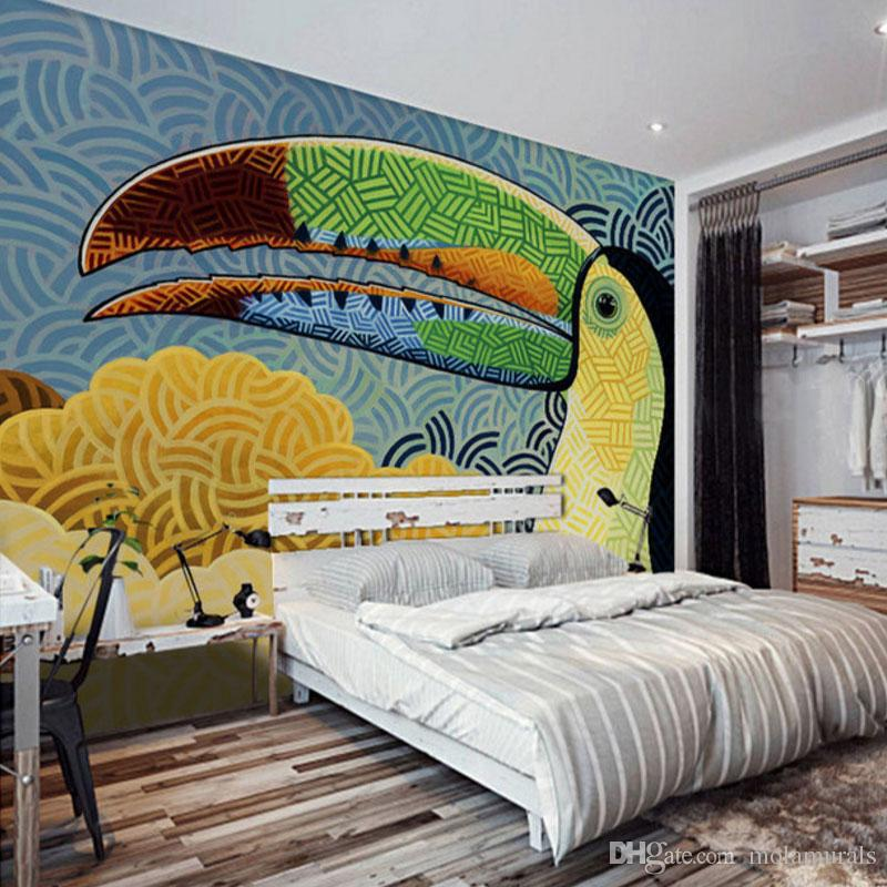 photo wall mural docoration wallpaper Modern Abstract Graffiti bird Art for  kids room bedroom non woven fabric material. Graffiti Wall Art Bedroom Online   Graffiti Wall Art Bedroom for Sale