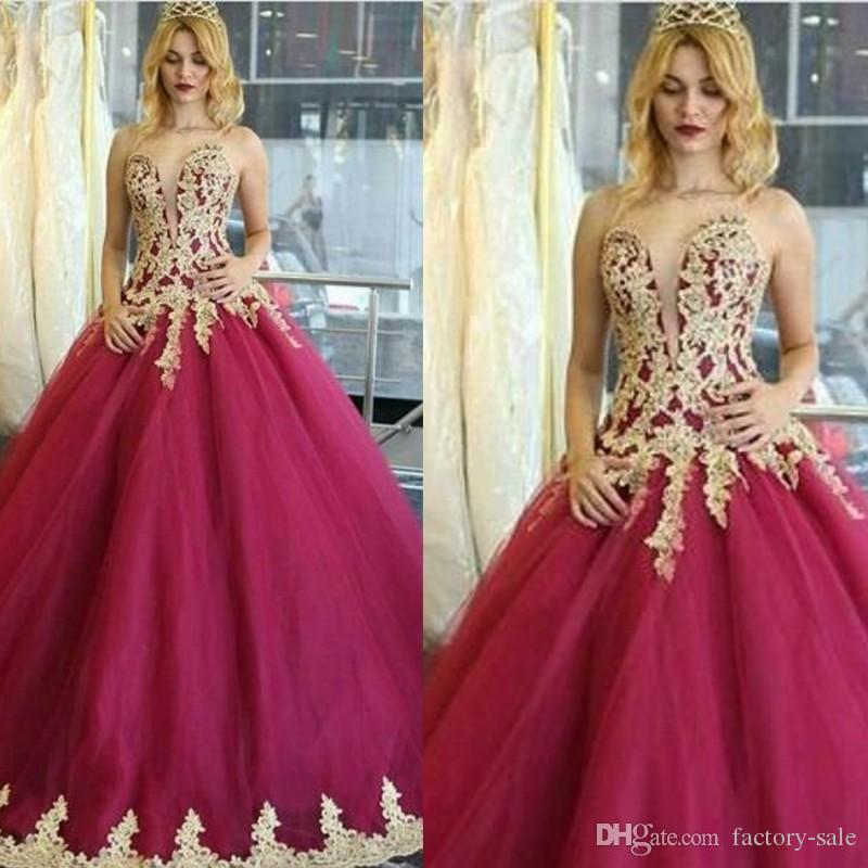Stunning Dark Red Gold Appliques Long Quinceanera Dresses Ball Gown