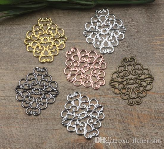 07824 37*30mm antique bronze/silver/rose gold/gun black filigree flower charm for jewelry making, manual metal bracelet necklace pendants