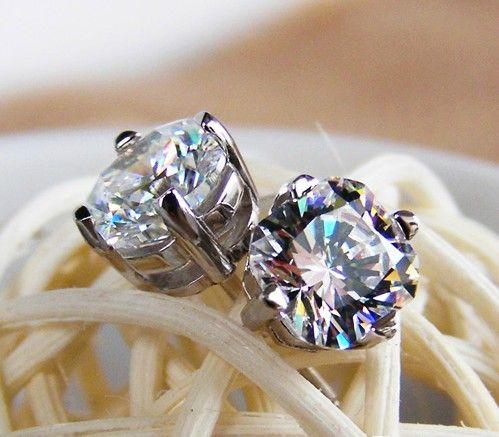Toptan Yüksek Kalite 2 ct / çift Benzersiz kesim SONA kadınlar için sentetik Karbon Elmas gümüş düğün küpe 18 K beyaz altın kaplama