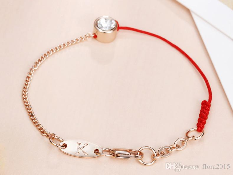 Fio vermelho e preto fio corda linha de corda pulseira com cristais de Swarovski banhado a ouro cadeia de presente das mulheres