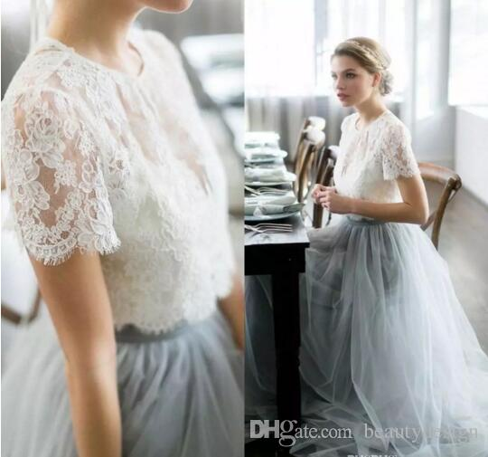 2017 Country Cheap Two Pieces Grey Bridesmaid Dresses For Wedding ...
