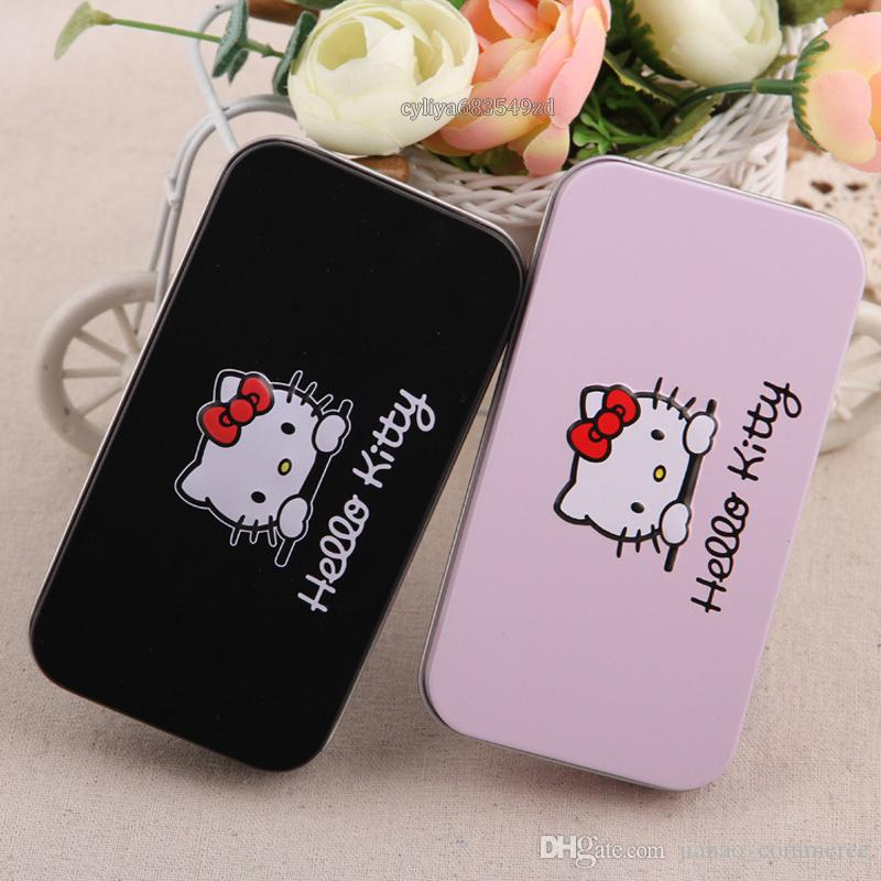 Hello Kitty Sweet pink black Mini Makeup brush Set cosmetics kit de pinceis de maquiagem make up brush Kit with Metal box