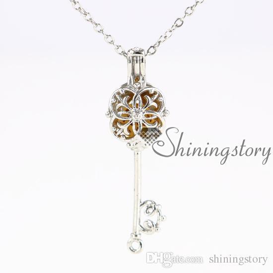 flor clave de metal difusor de piedra volcánica collar de aromaterapia joyería difusores corazón medallón collar de oro aceite esencial difusor de joyas