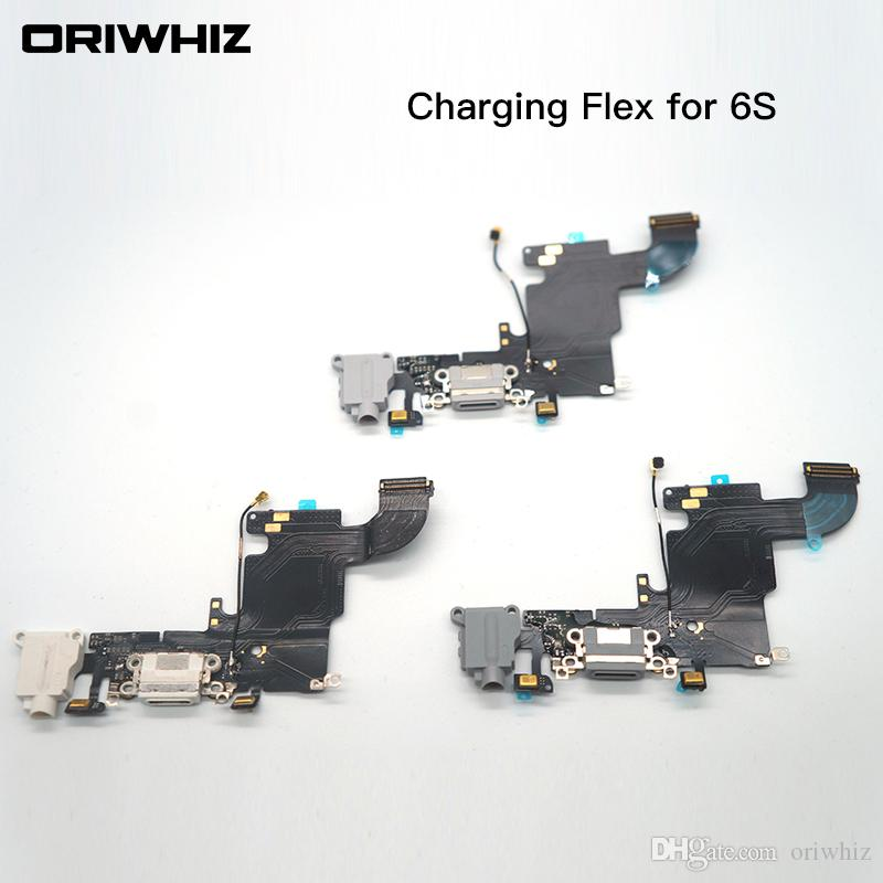 For IPhone 6s 6s Plus USB Dock Charger Charging Headphone Audio Port Flex Cable Replacement Part White Black Color Can Mobile Cell Repair Mobile Phone