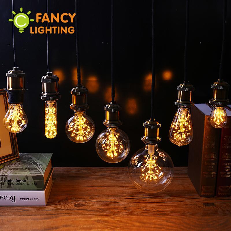Wholesale Led Lamp E27 Decorative Light Bulb 220v Edison St64 G95 Fireworks Holiday Lights Christmas Decorations For Home