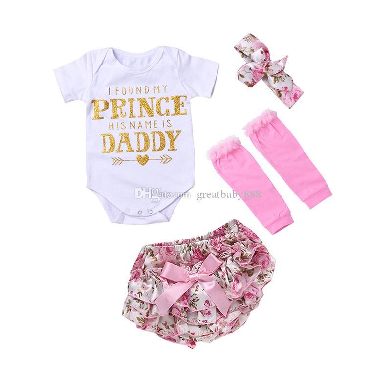 Babymädchen 4 stücke Kleidung Sets Infant Ins Romper + Floral Shorts und Stirnband Leggings Set Ich fand meine Prinzessin Sein Name ist Daddy M3443 K041