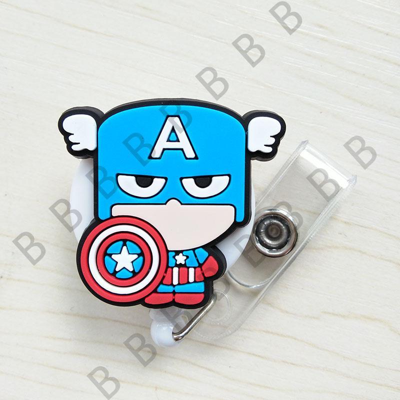 Cute Cartoon Heroes Rétractable Badge Reel Pull ID Carte Badge Titulaire Titulaire Clip Hôpital École Bureau