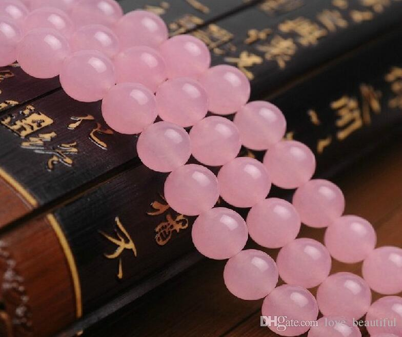 2017 Hot sale 4mm 6mm 8mm 10mm 12mm 14mm manual DIY Pink Chalcedony beads jade Pink Jade Bead Fit Bracelet Necklace