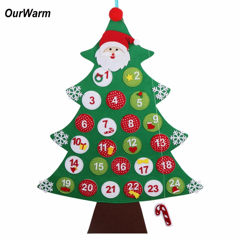 ourwarm felt christmas advent calendar new year s products hanging christmas countdown calendar christmas decorations for home top kids toys for christmas