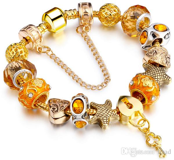 Legierung Mode Frauen Armband, Perlen Kette Armband für Muttertag, Murano Kristall Perlen gelb vergoldet Armband