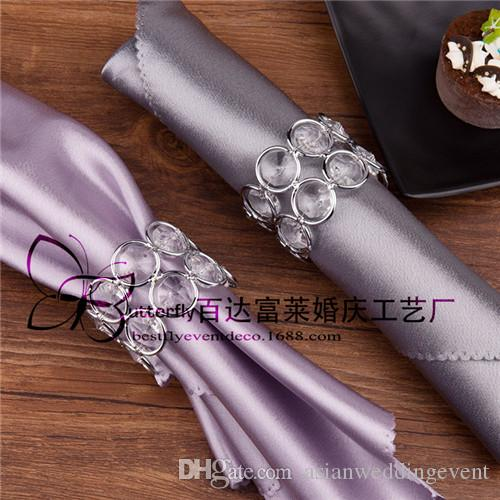 Silver Plated Napkin Rings Elegant Double Round Crystal Napkin Holder Wedding Decoration Napkin Rings