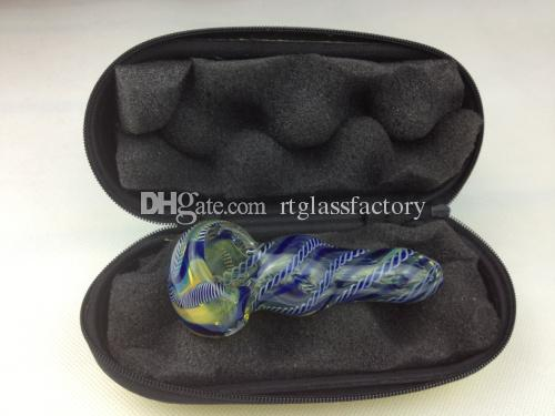 "glass pipe case mix colors smoking pipe box for 3"" to 6"" smoking glass hand spoon pipe"