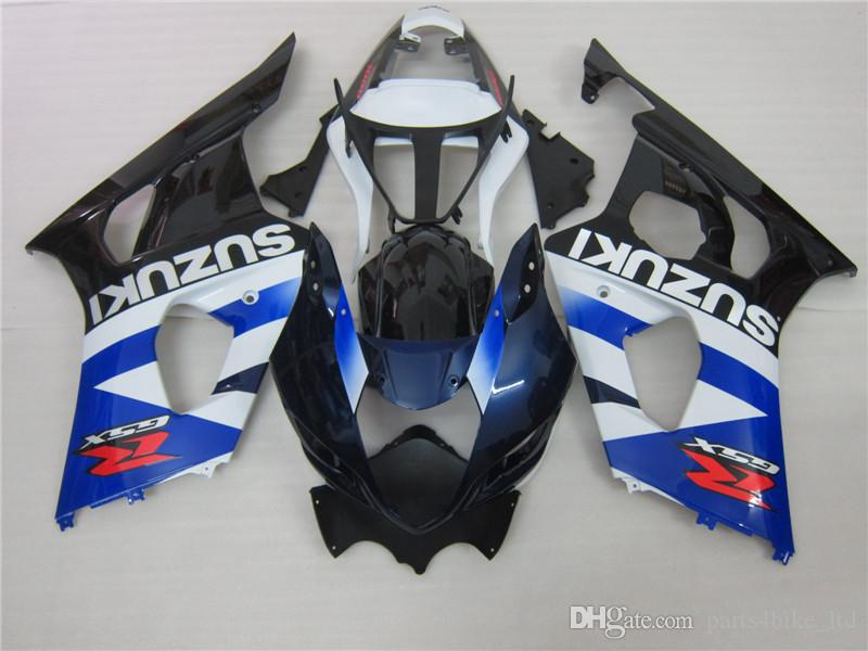 Ny Hot för Suzuki 2003 2004 GSXR1000 GSXR 1000 03 04 K3 Blue White Fairing 568a