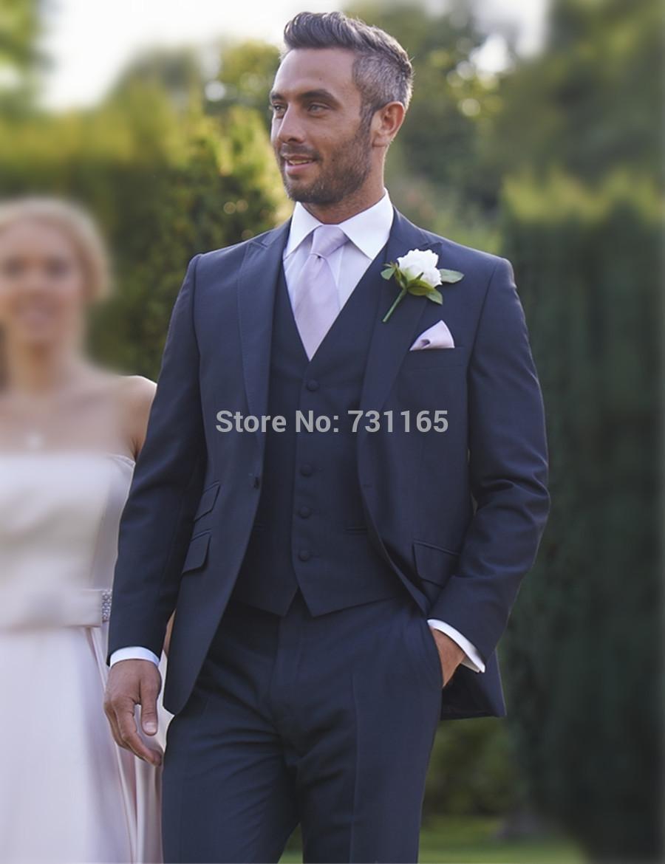 2018 Wholesale Navy Blue New Design Wedding Suits Slim Fit Blazer ...