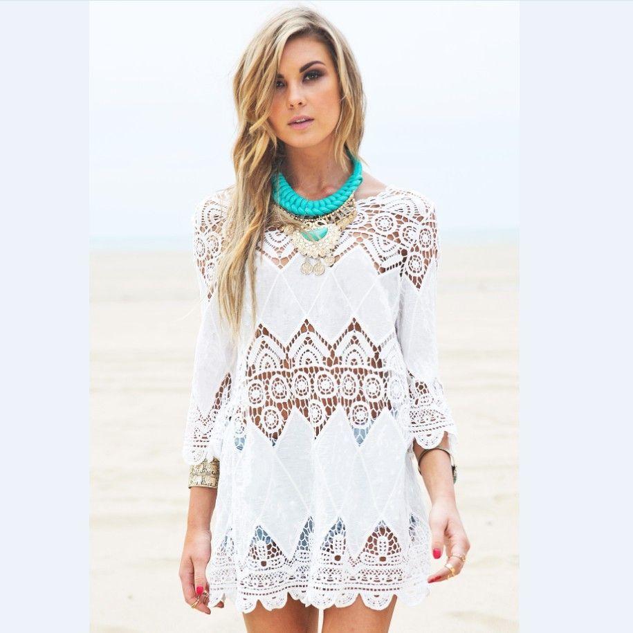 2901e90f9d1c6 Wholesale- Women Summer Beach Wear Crochet Tunics Dresses Half Sleeve 2016  New Flower Embroidery Boho Lace Shirt Hollow Out Cover Ups .com Online  Shopping ...