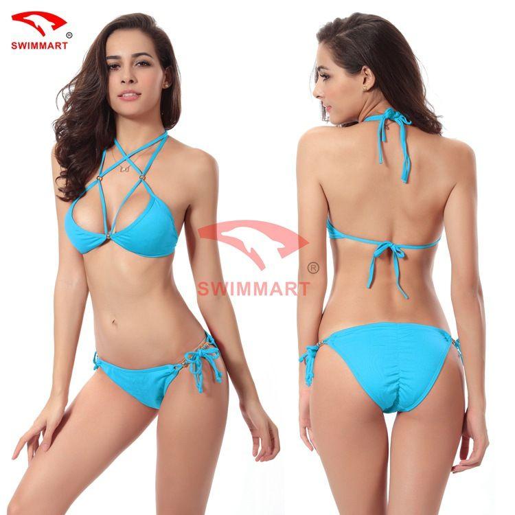 2017 Hot sling bikini solid color women swimwear bikini set swimsuit Very cheeky brazilian bottom Maillot De Bain Bikini