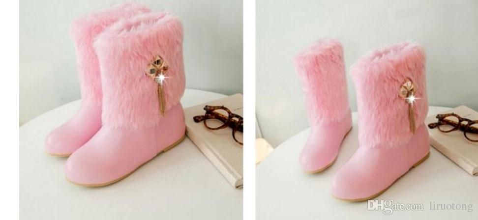 2017, winter style with fluffy women's short boots Korean version of winter with velvet boots