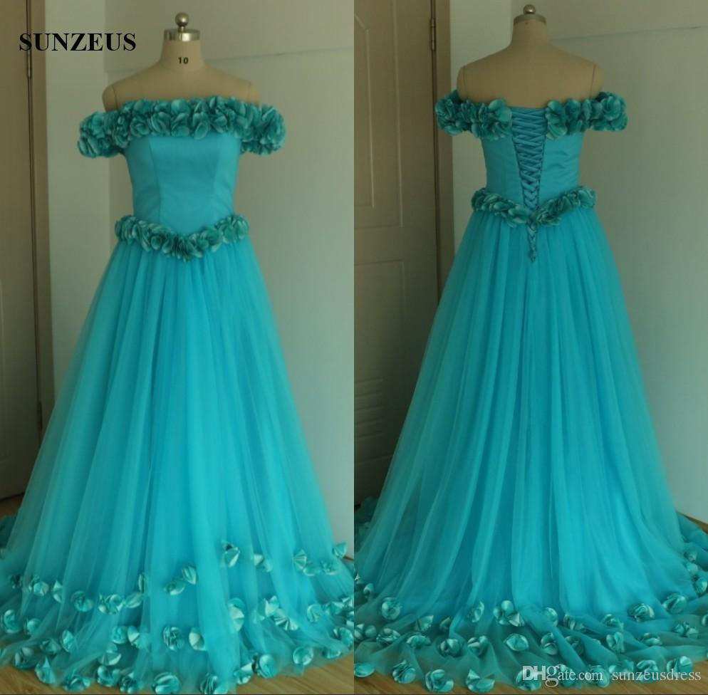 Elegant A Line Floral Off Shoulder Blue Evening Dresses Long Tulle Formal Gowns Hand-made Taffeta Flowers Party Dress